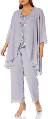 Le Bos Women's Plus Size Embroidered LACE Scallop Trim Duster Pant Set