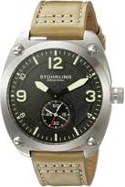 Stuhrling Original Men's Quartz Stainless Steel and Beige Leather Casual Watch (Model: 581.03)
