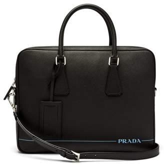 Prada Saffiano Leather Briefcase - Mens - Black