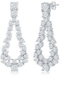 La Preciosa Open Pear-Shaped Statement Cubic Zirconia Silver/14k Rose Gold Plated Sterling Silver Dangling Earrings
