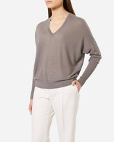 N.Peal Ribbed Sleeve Super Fine V Cashmere Sweater