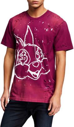 Dom Rebel Domrebel Men's Paint-Splatter Bunny Graphic T-Shirt