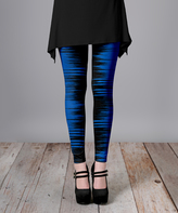 Lily Blue & Black Abstract Slim-Fit Pants - Plus Too