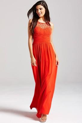 Little Mistress Orange Embellished Detail Maxi Dress