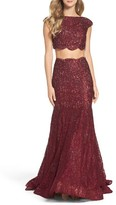 La Femme Women's Sparkle Lace Two-Piece Gown
