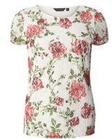 Dorothy Perkins Womens Ivory Rose Print Lace T-Shirt- White