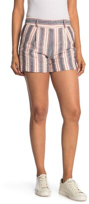 Frame Striped High Waist Linen Shorts