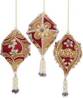 Kurt Adler Cranberry, Gold, & Pearl Finial 3Pc Set