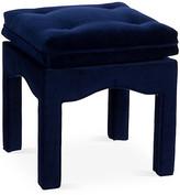 One Kings Lane Julien Tufted Ottoman - Midnight Velvet - harbor blue