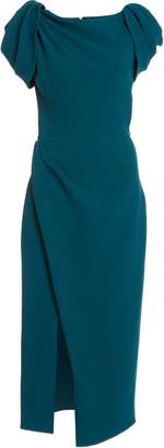 Oscar de la Renta Wrap-Effect Wool-Blend Midi Dress