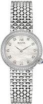 Bulova Diamonds Womens Diamond-Accent Stainless Steel Mesh Watch 96R206