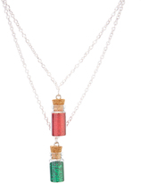 Carole Red & Green Glitter Bottle Pendant Necklace Set