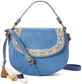 Blue Embroidered Crossbody Bag