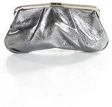 J.Crew J Crew Silver Tone Leather Clutch Handbag Size Small