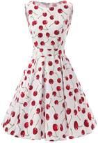 Ensnovo Womens Vintage 1950s Sleeveless Retro Floral Print Rockabilly Swing Dress , M