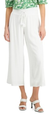 INC International Concepts Inc Crinkle-Gauze Cropped Wide-Leg Pants, Created for Macy's
