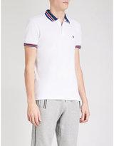 The Kooples Striped-collar Cotton-pique Polo Shirt