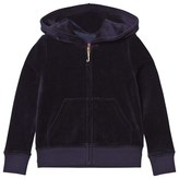 Juicy Couture Navy Floral Jewelled Crest Velour Hoodie