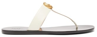 Gucci GG Marmont T-bar Leather Sandals - Cream