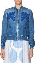 Stella McCartney Embroidered Denim Bomber Jacket, Blue