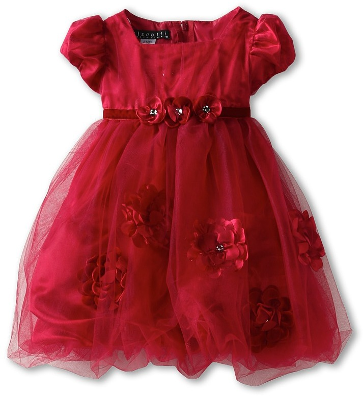 Biscotti Pocketful Of Posies Puff Sleeve Dress (Infant) (Red) - Apparel
