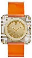 Tory Burch Izzie Leather-Strap Golden Watch, Orange
