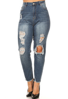 Blue Denim Distressed-Knee Skinny Jeans - Plus
