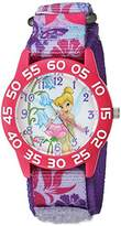 Disney Girl's 'Tinker Bell' Quartz Plastic and Nylon Casual Watch, Color:Purple (Model: WDS000105)