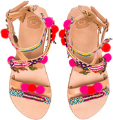 Elina Linardaki Leather Gipsy Spell Sandals in Neutrals,Neon.