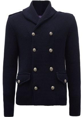 Ralph Lauren Purple Label Double-breasted Cotton-blend Cardigan - Mens - Navy