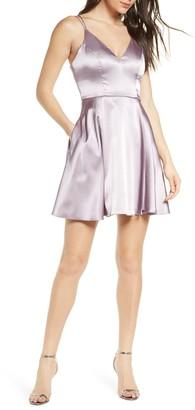 Sequin Hearts Strappy Satin Fit & Flare Minidress