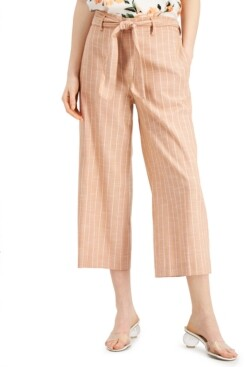 Bar III Striped Chambray Wide-Leg Belted Cropped Pants, Created for Macy's