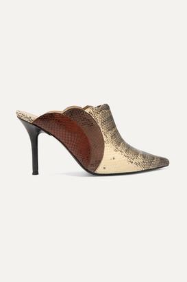 Chloé Lauren Scalloped Snake-effect Leather Mules - Snake print