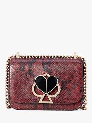 Kate Spade Nicola Leather Chain Twistlock Shoulder Bag, Cherrywood Snake