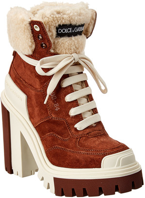 Dolce & Gabbana Trekking Shearling & Suede Bootie