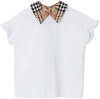 BURBERRY KIDS Vintage Check Detail Ruffled Sleeve Cotton T-shirt