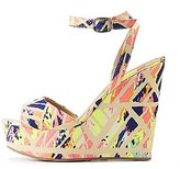 Charlotte Russe Bamboo Printed Two-Piece Wedge Sandals