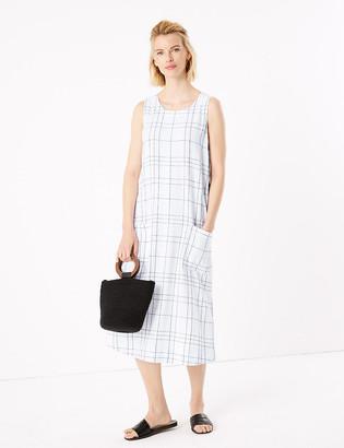 Marks and Spencer Linen Checked Midi Shift Dress