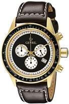 Tribeca Gevril Mens Chronograph Swiss Quartz Brown Leather Strap Watch, (Model: A2112)