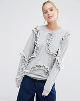 Asos Sweatshirt With All Over Frill Detail