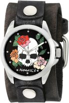 Nemesis Women's 933GBV-K Black Skull and Roses Series Faded Black Leather Cuff Band Analog Display Japanese Quartz Black Watch