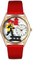 Whimsical Watches Women's C0620011 Classic Gold Firefighter Red Leather And Goldtone Watch