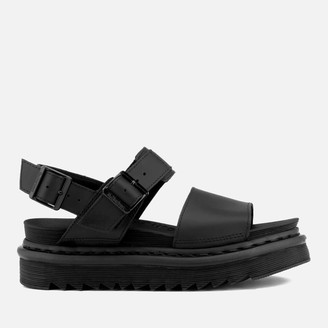 Dr. Martens Women's Voss Leather Double Strap Sandals - Black - UK 7 - Black