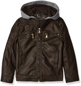 Urban Republic Little Boys' Toddler Faux Leather Jacket with Fleece Hood and Perforated Shoulders