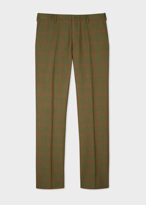 Paul Smith Men's Slim-Fit Khaki Check Wool Pants