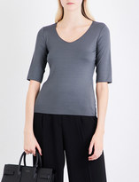 Armani Collezioni V-neck stretch-crepe top