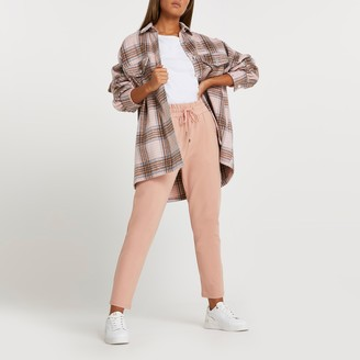 River Island Womens Pink ponte pleated joggers