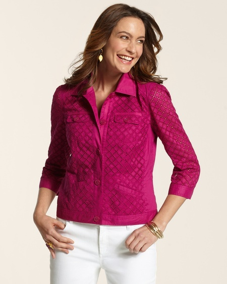 Chico's Diane Eyelet Mix Jacket