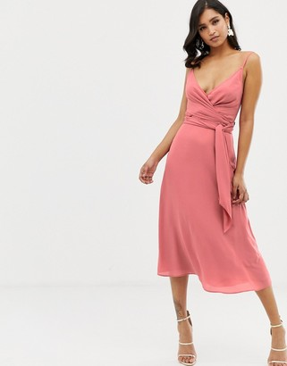 Asos Design DESIGN cami wrap midi dress with tie waist-Pink