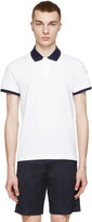 Moncler White Contrast Collar Polo